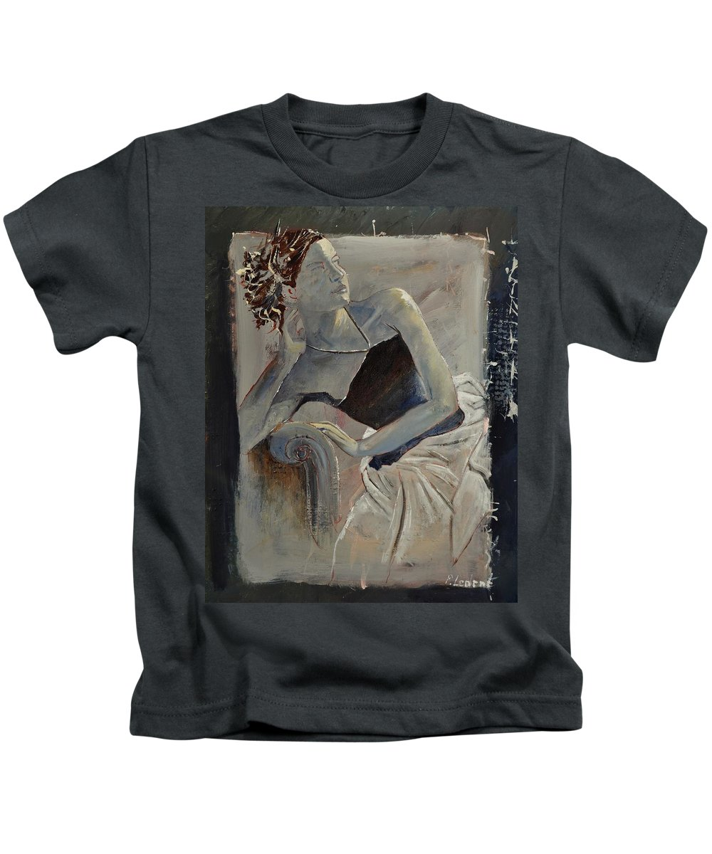 Girl Kids T-Shirt featuring the painting Young Girl 4501502 by Pol Ledent