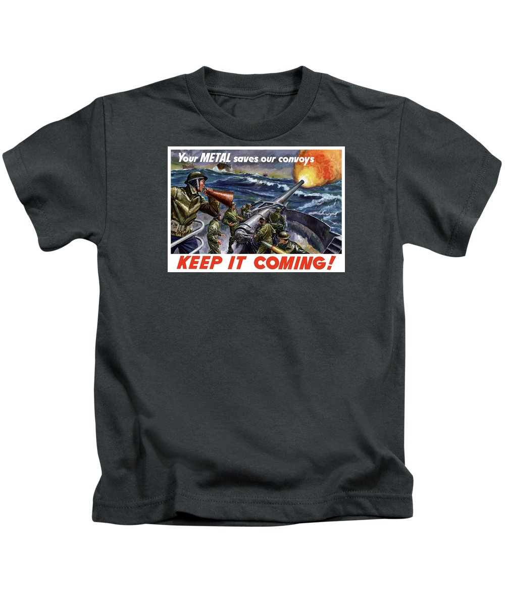 Wwii Kids T-Shirt featuring the painting Your Metal Saves Our Convoys by War Is Hell Store