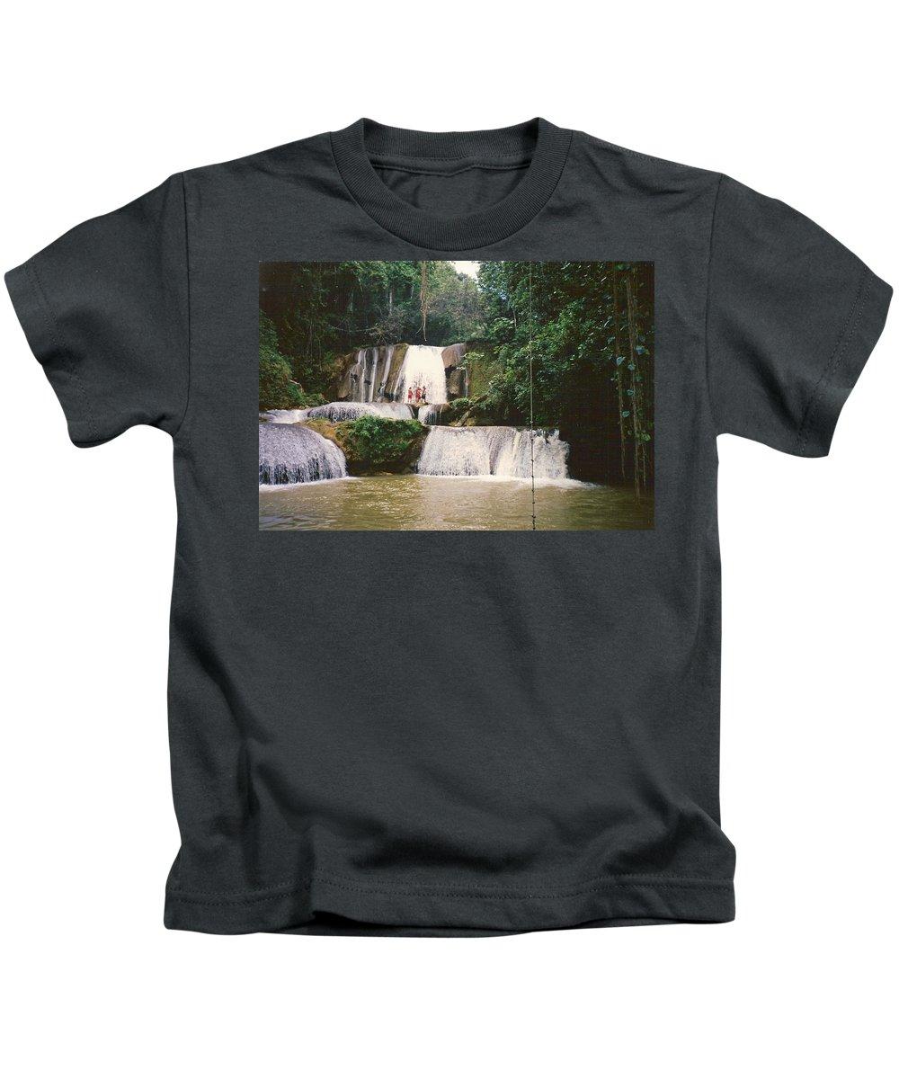 Jamaica Kids T-Shirt featuring the photograph Ys Falls Jamaica by Debbie Levene