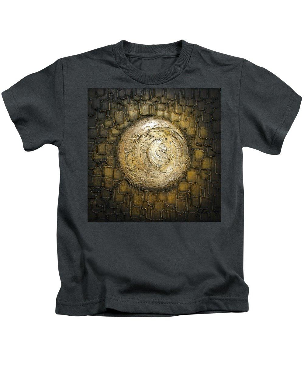 Brown Kids T-Shirt featuring the painting Zen Moon by Susanna Shap