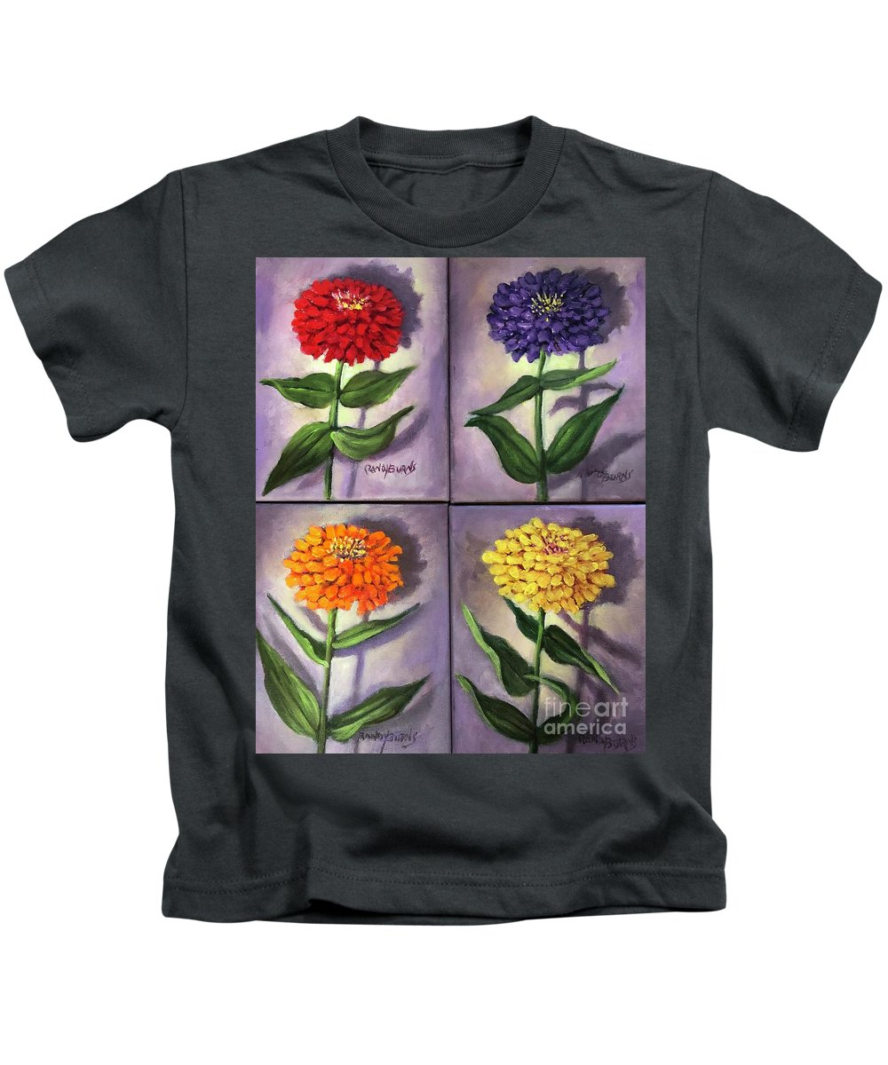 Zinnias Kids T-Shirt featuring the painting Zinnias 4 by Randy Burns