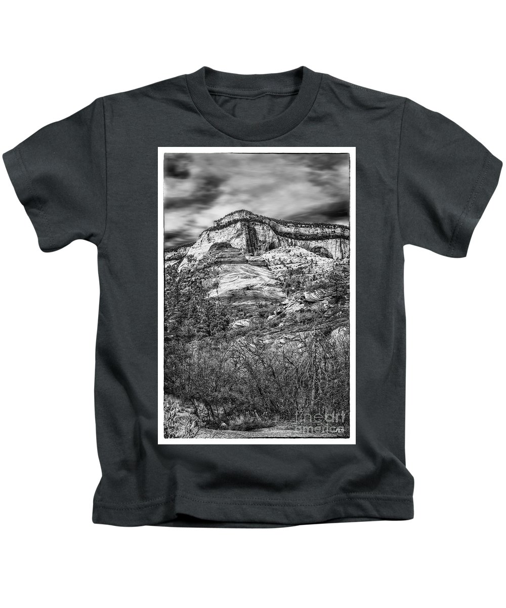 Black And White Kids T-Shirt featuring the photograph Zion Landscape by Joseph Yvon Cote