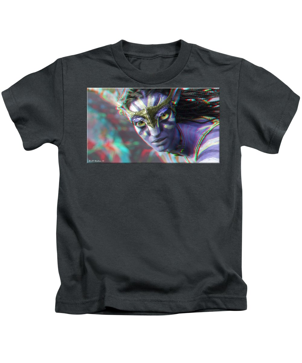 3d Kids T-Shirt featuring the photograph Zoe Saldana - Neytiri - Use Red And Cyan 3d Glasses by Brian Wallace