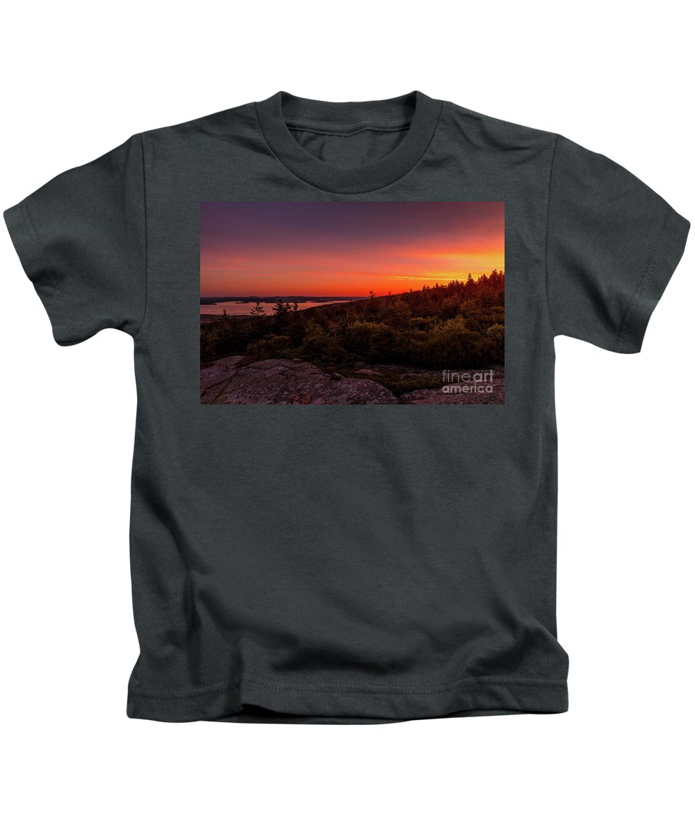 Cadillac Mountain Sunrise Kids T-Shirt featuring the photograph Acadia National Park Sunrise by Dylan Brett