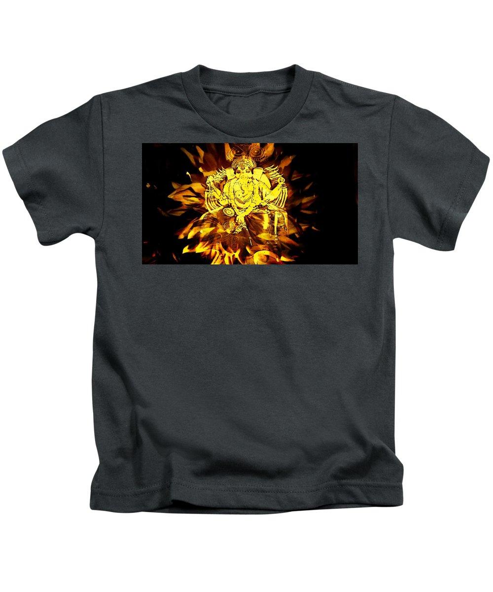 Ganesha Kids T-Shirt featuring the digital art Ganesha4 by Nilu Mishra