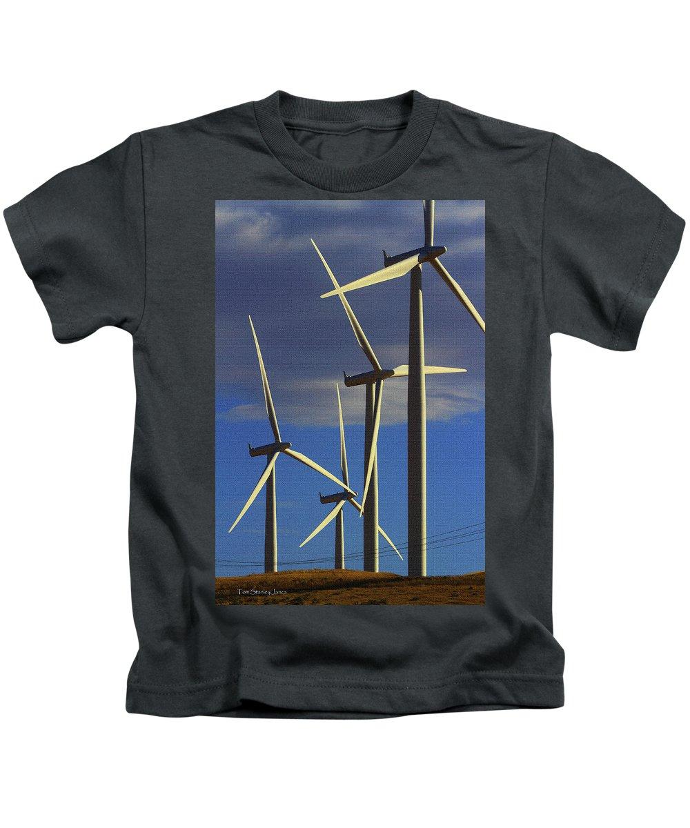 Wind Power Art Kids T-Shirt featuring the digital art Wind Power Art by Tom Janca