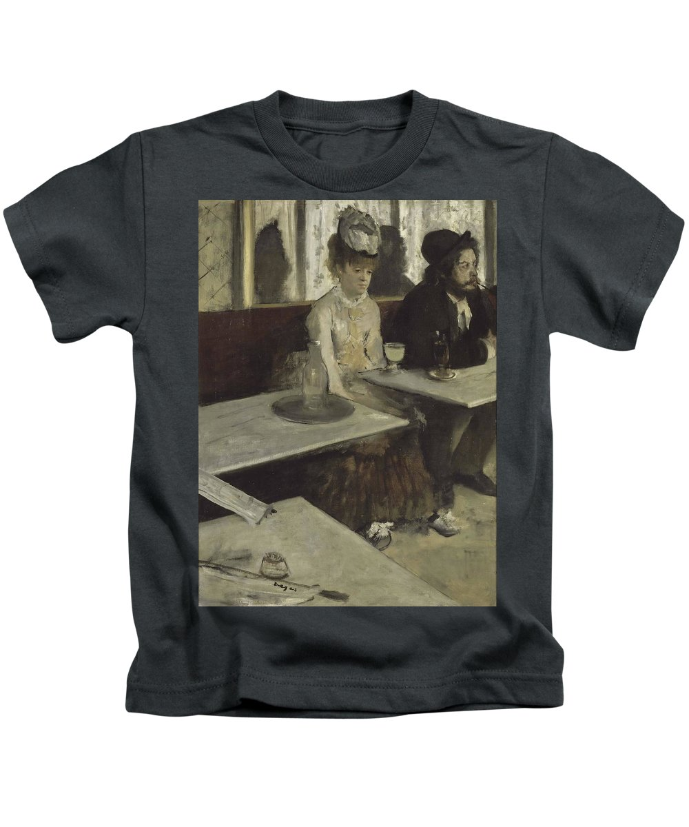 Edgar Degas Kids T-Shirt featuring the painting In A Cafe by Edgar Degas