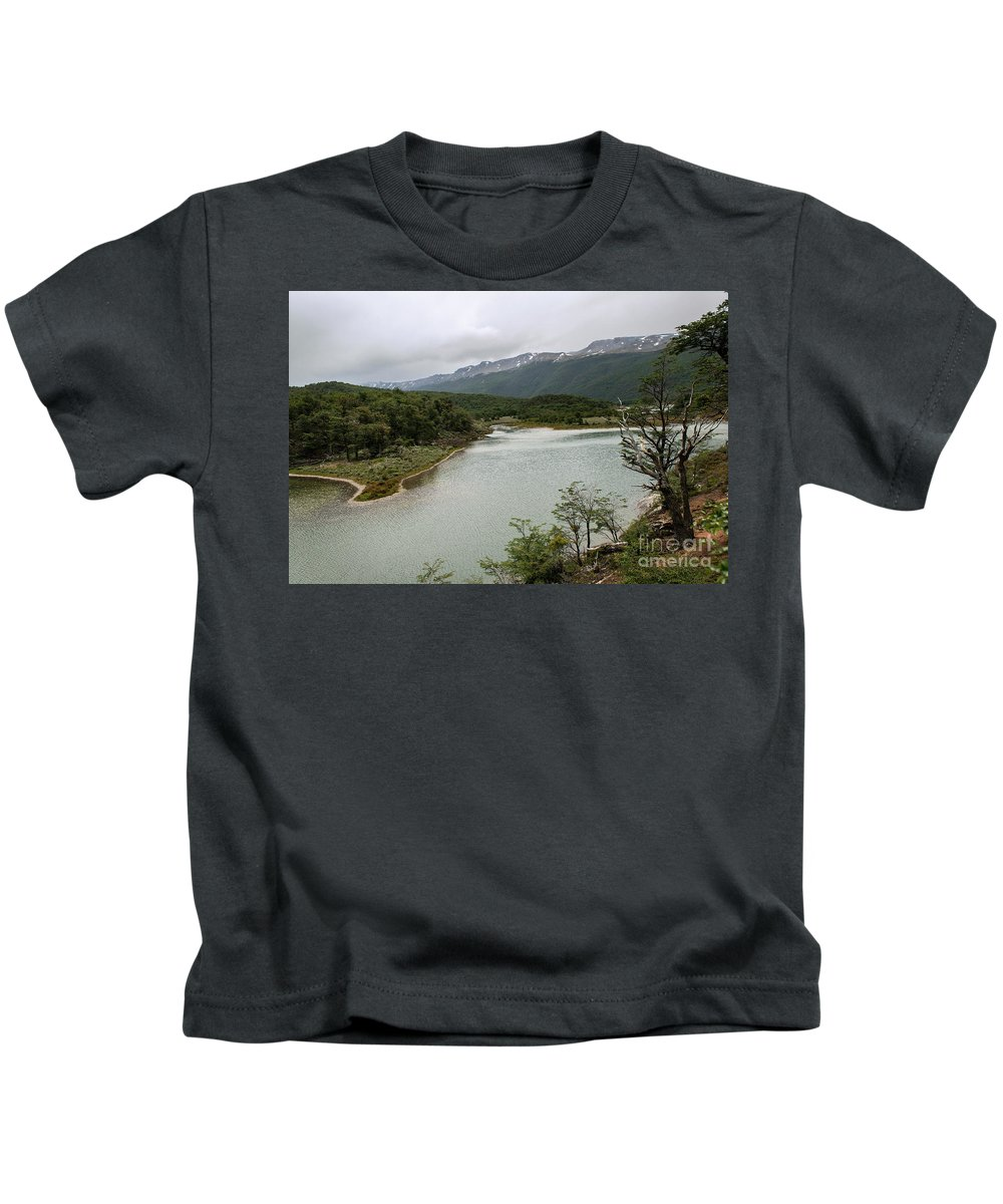 Picturesque Laguna Verde Kids T-Shirt featuring the photograph Picturesque Laguna Verde, Tierra Del Fuego National Park, Ushuaia, Argentina by Yefim Bam
