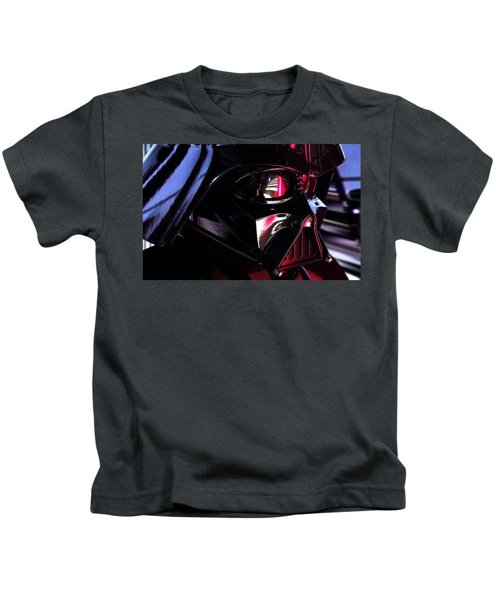 Darth Vader Kids T-Shirt featuring the digital art Darth Vader by Samuel Beach