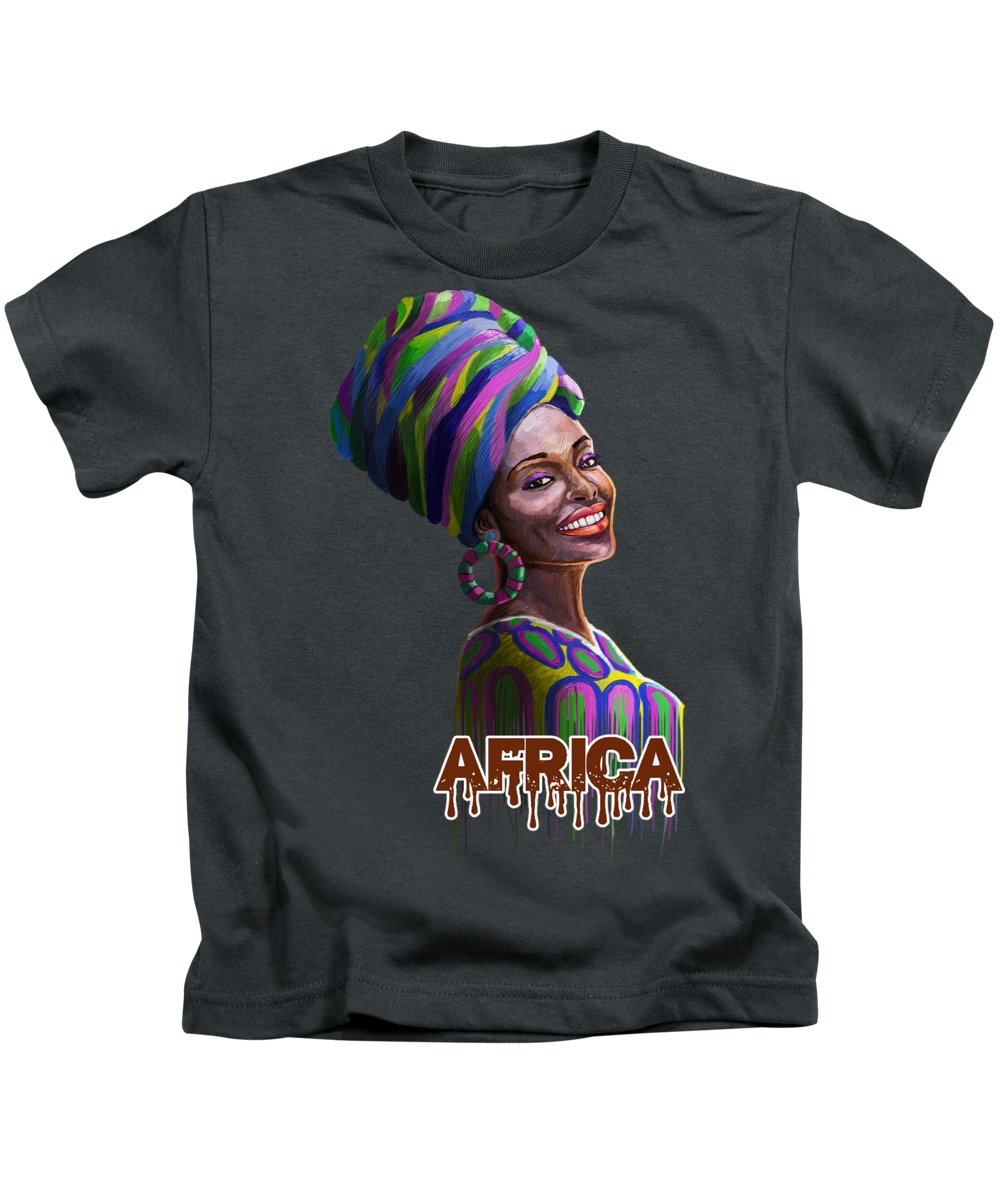 Nairobi Kids T-Shirt featuring the painting A Bright Smile for All by Anthony Mwangi