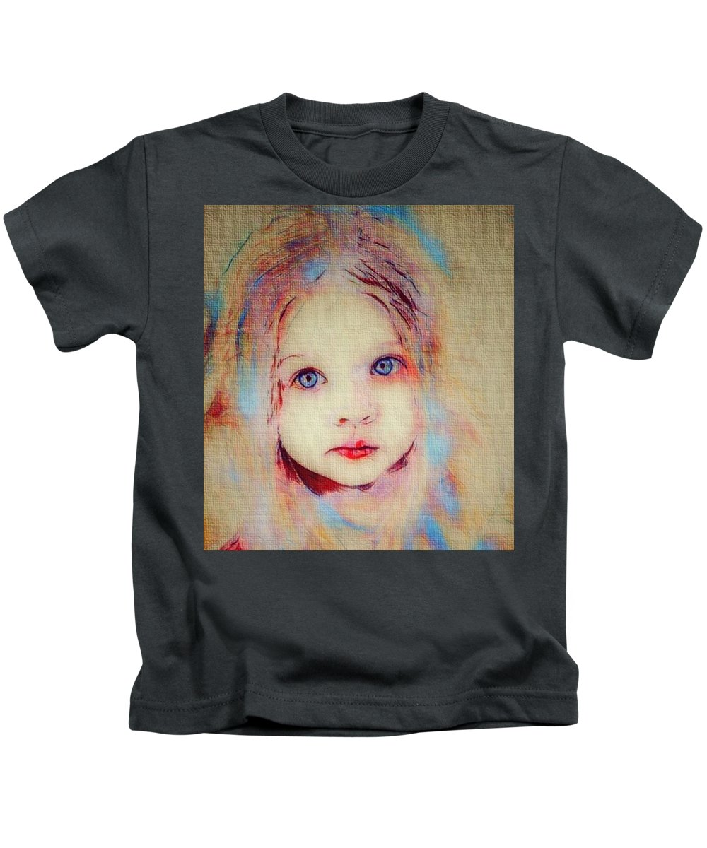 Digitalart Kids T-Shirt featuring the digital art A Little Angel by Angelina Anic