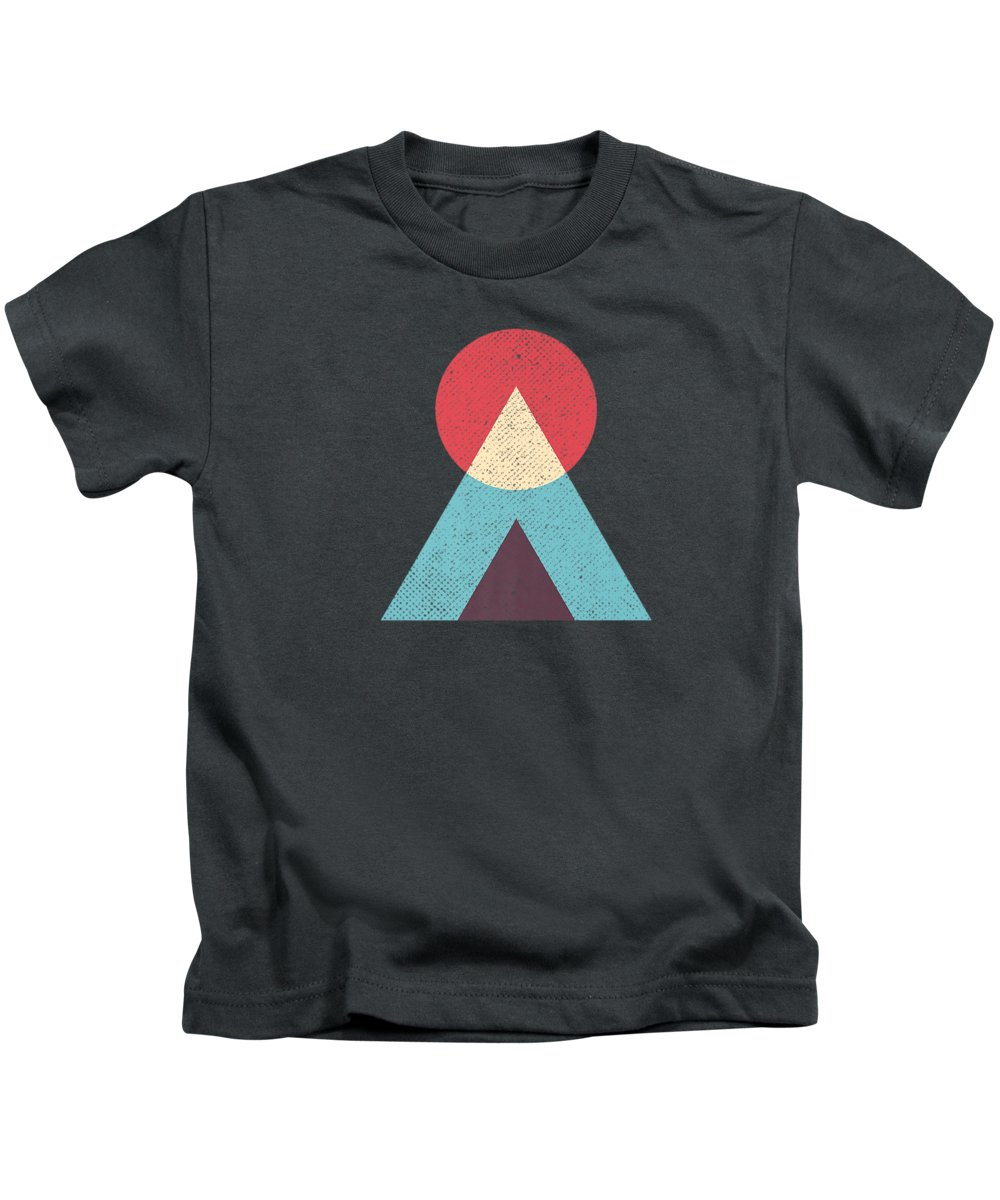 girls' Novelty T-shirts Kids T-Shirt featuring the digital art Abstract Sunset Geometric Tshirt by Do David