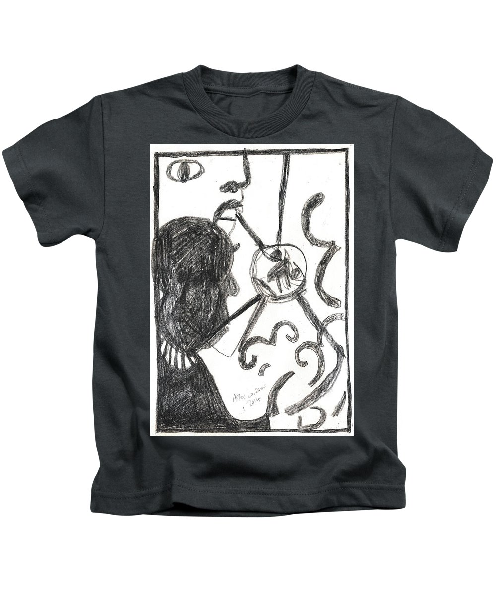 Michel Larionov Kids T-Shirt featuring the drawing After Mikhail Larionov Pencil Drawing 13 by Edgeworth DotBlog
