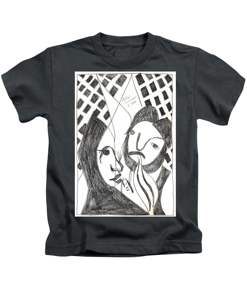 Michel Larionov Kids T-Shirt featuring the drawing After Mikhail Larionov Pencil Drawing 14 by Edgeworth DotBlog