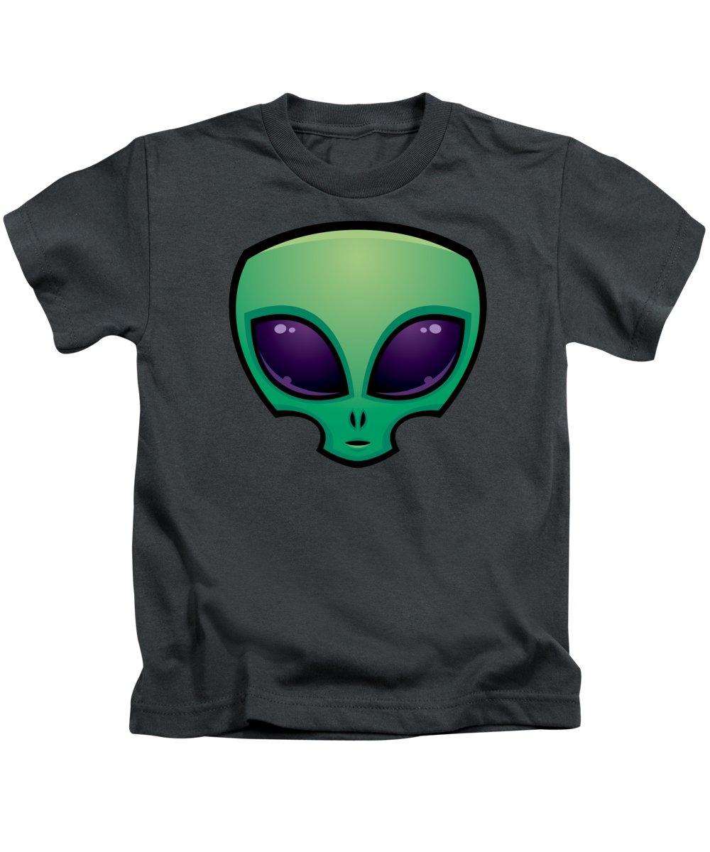 Alien Kids T-Shirt featuring the digital art Alien Head Icon by John Schwegel