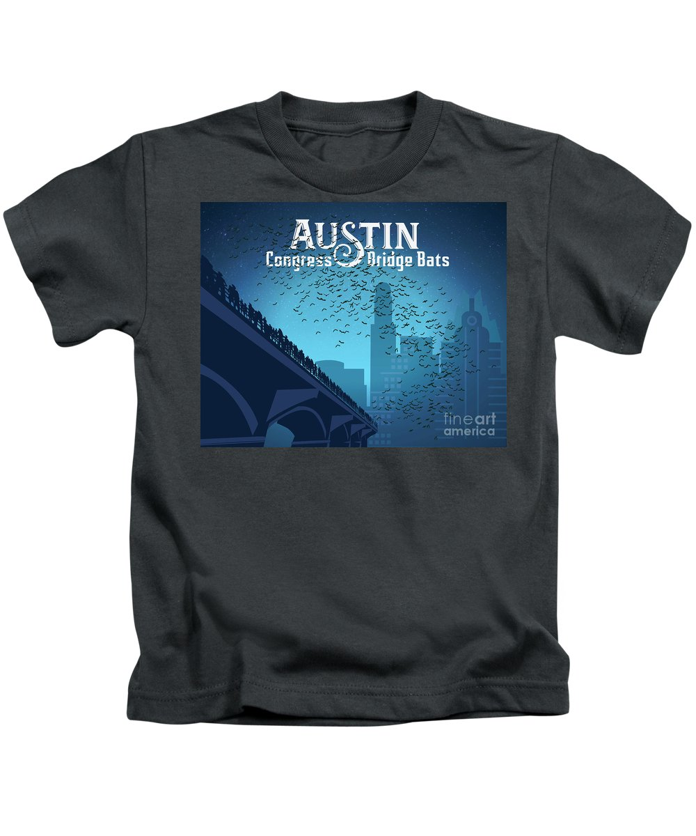 Austin Congress Bridge Bats In Blue Silhouettes Kids T-Shirt featuring the painting Austin Congress Bridge Bats In Blue Silhouette by Say Cheese Austin