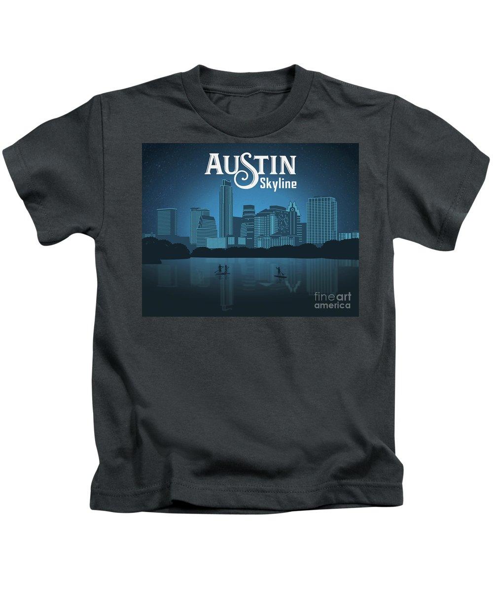 Austin Skyline Kids T-Shirt featuring the photograph Austin Skyline by Weird Austin Photos
