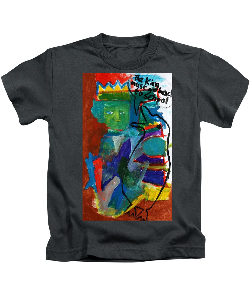 Painting Kids T-Shirt featuring the painting Bird Talk by Artist Dot