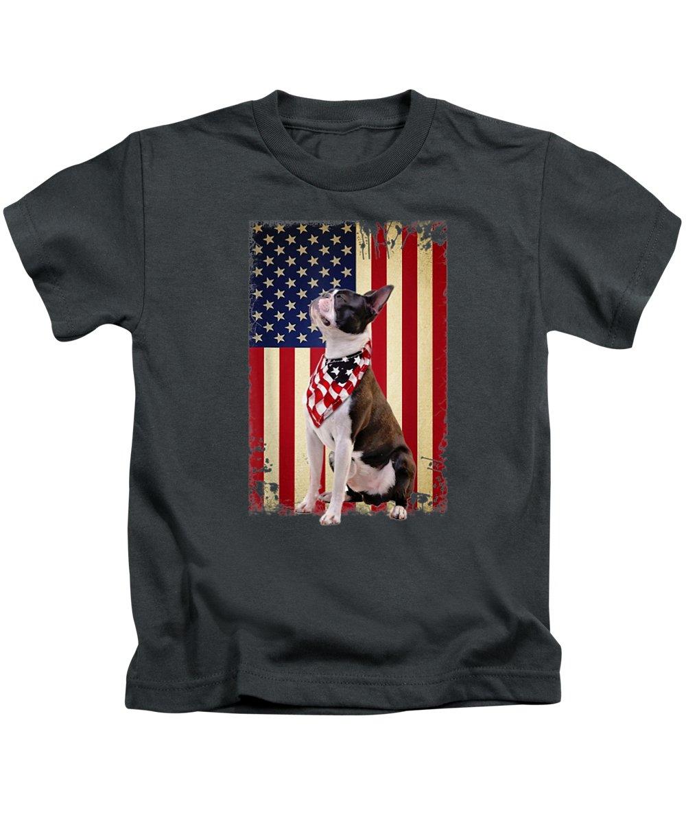girls' Novelty Clothing Kids T-Shirt featuring the digital art Boston Terrier Smile Flag T Shirt, Boston Terrier American by Do David