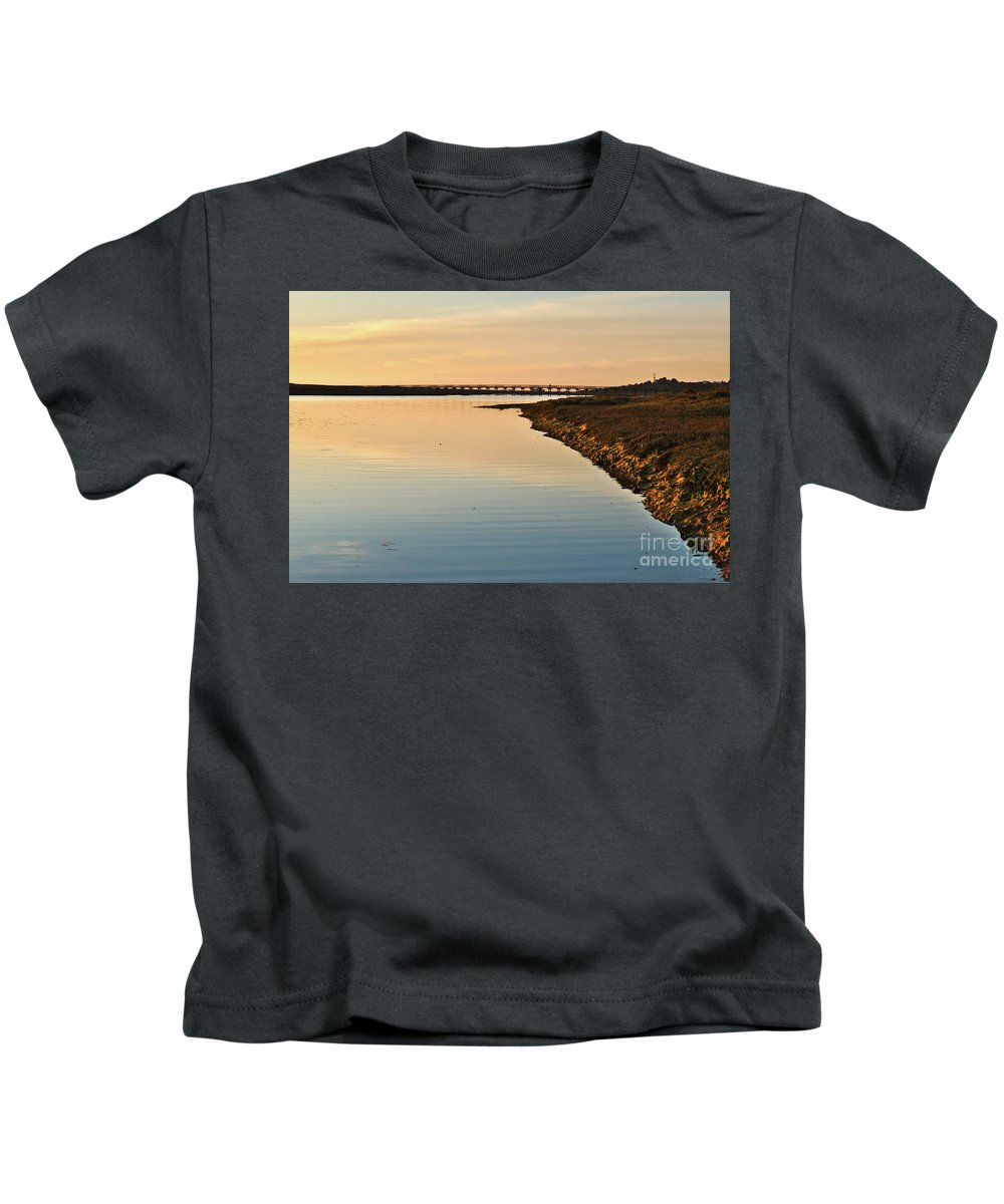 Algarve Kids T-Shirt featuring the photograph Bridge And Ria At Sunset In Quinta Do Lago by Angelo DeVal