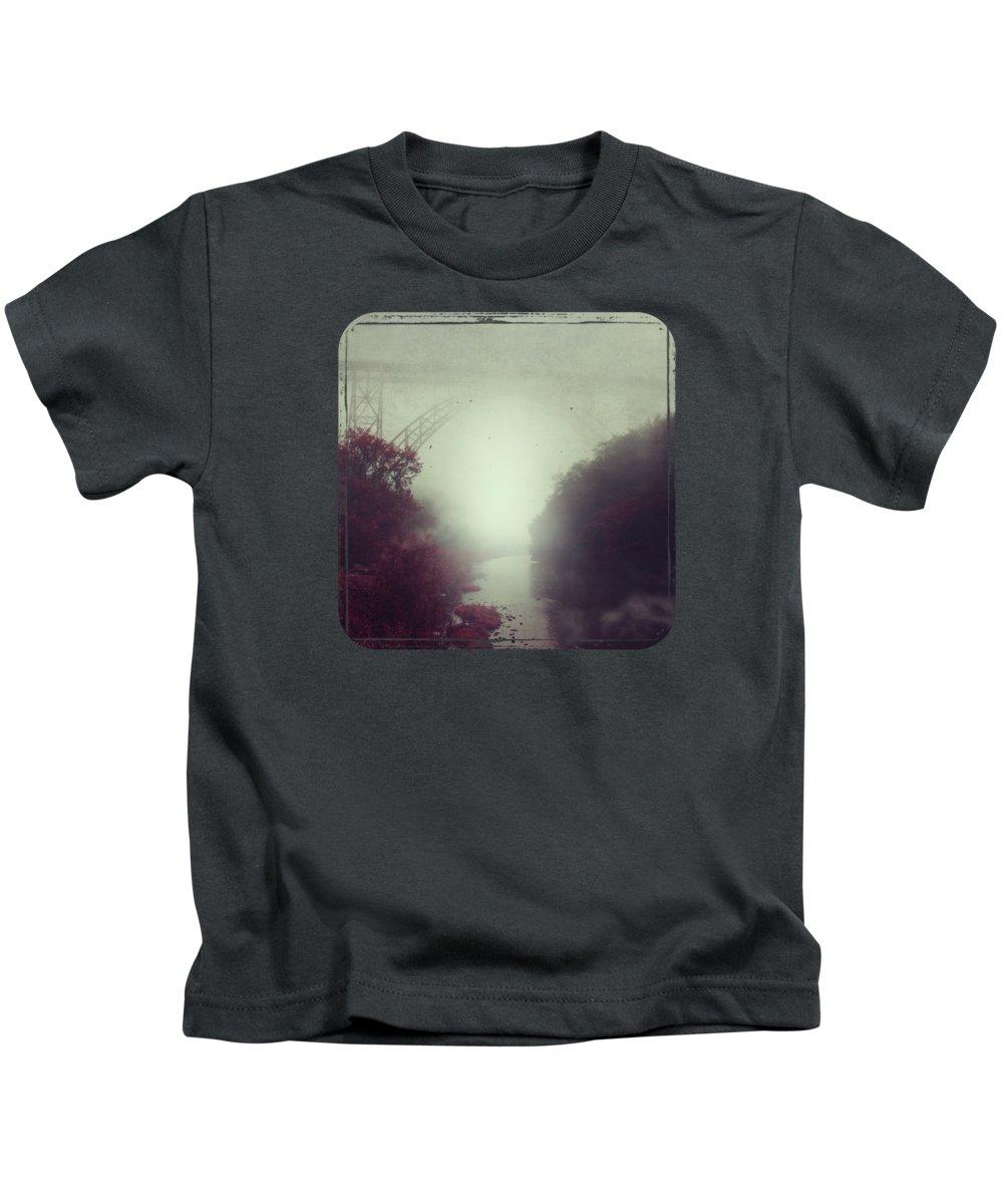 Fog Kids T-Shirt featuring the photograph Bridge And River In Fog by Dirk Wuestenhagen