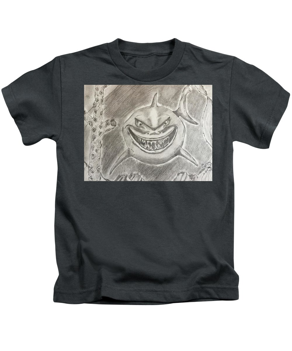 Animation Characters. Kids T-Shirt featuring the drawing Bruce by Stronger Art
