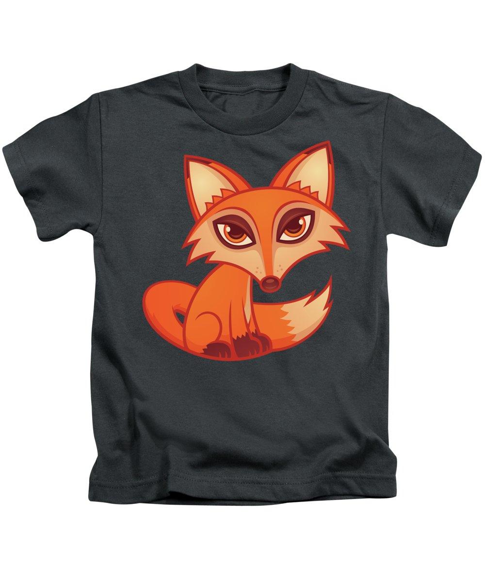 Animal Kids T-Shirt featuring the digital art Cartoon Red Fox by John Schwegel