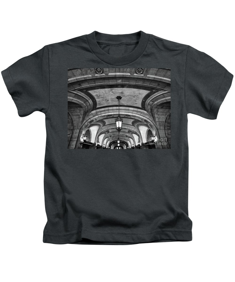 Bnw Kids T-Shirt featuring the photograph City Hall by Izet Kapetanovic