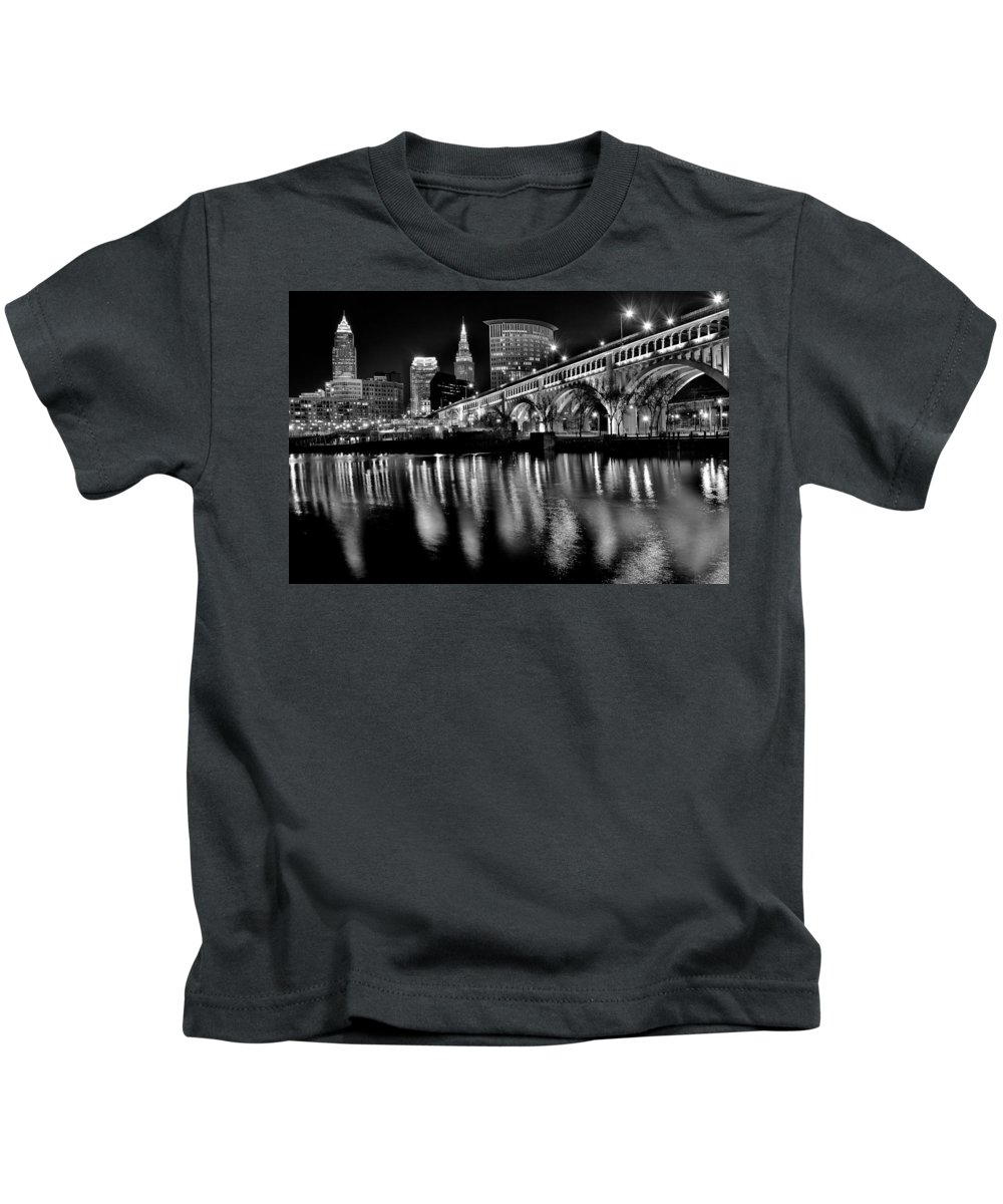 Cleveland Kids T-Shirt featuring the photograph Cleveland Skyline by Frozen in Time Fine Art Photography
