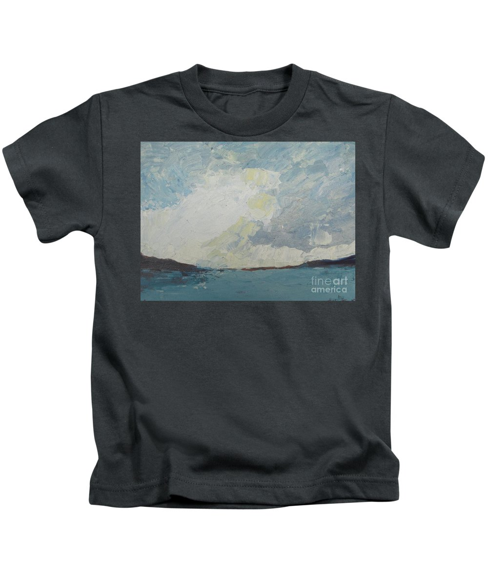Sea Kids T-Shirt featuring the painting Cloud Above The Sea by Vesna Antic