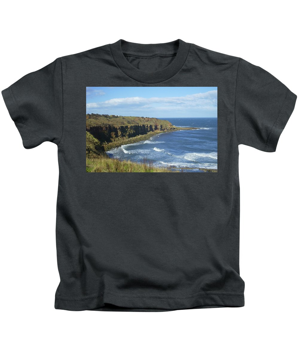 Cliffs Kids T-Shirt featuring the photograph coastal bay at Cove with cliffs by Victor Lord Denovan