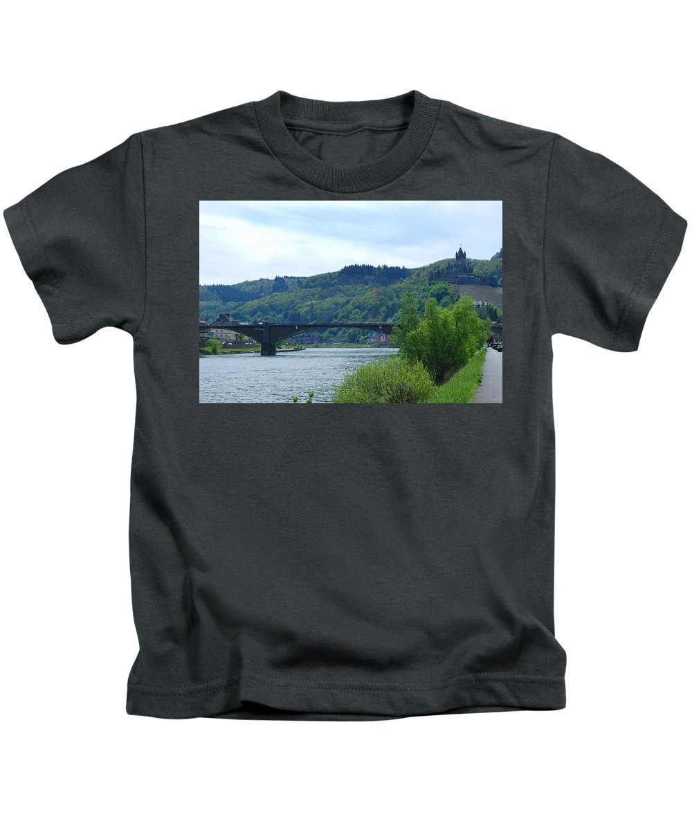 Castle Kids T-Shirt featuring the photograph Cochem Castle And River Mosel In Germany by Victor Lord Denovan