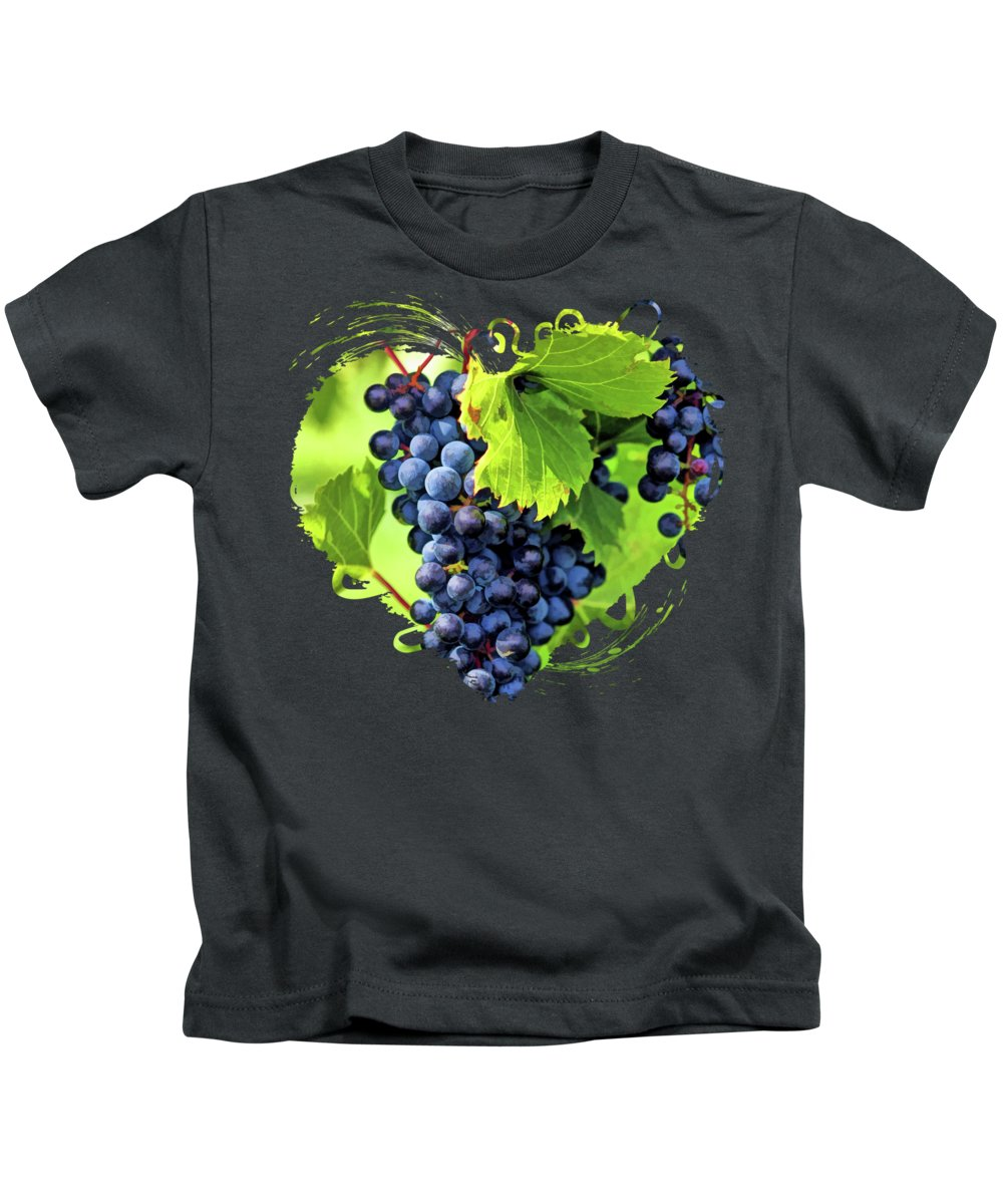 Grapes Kids T-Shirt featuring the painting Door County Grape Cluster by Christopher Arndt