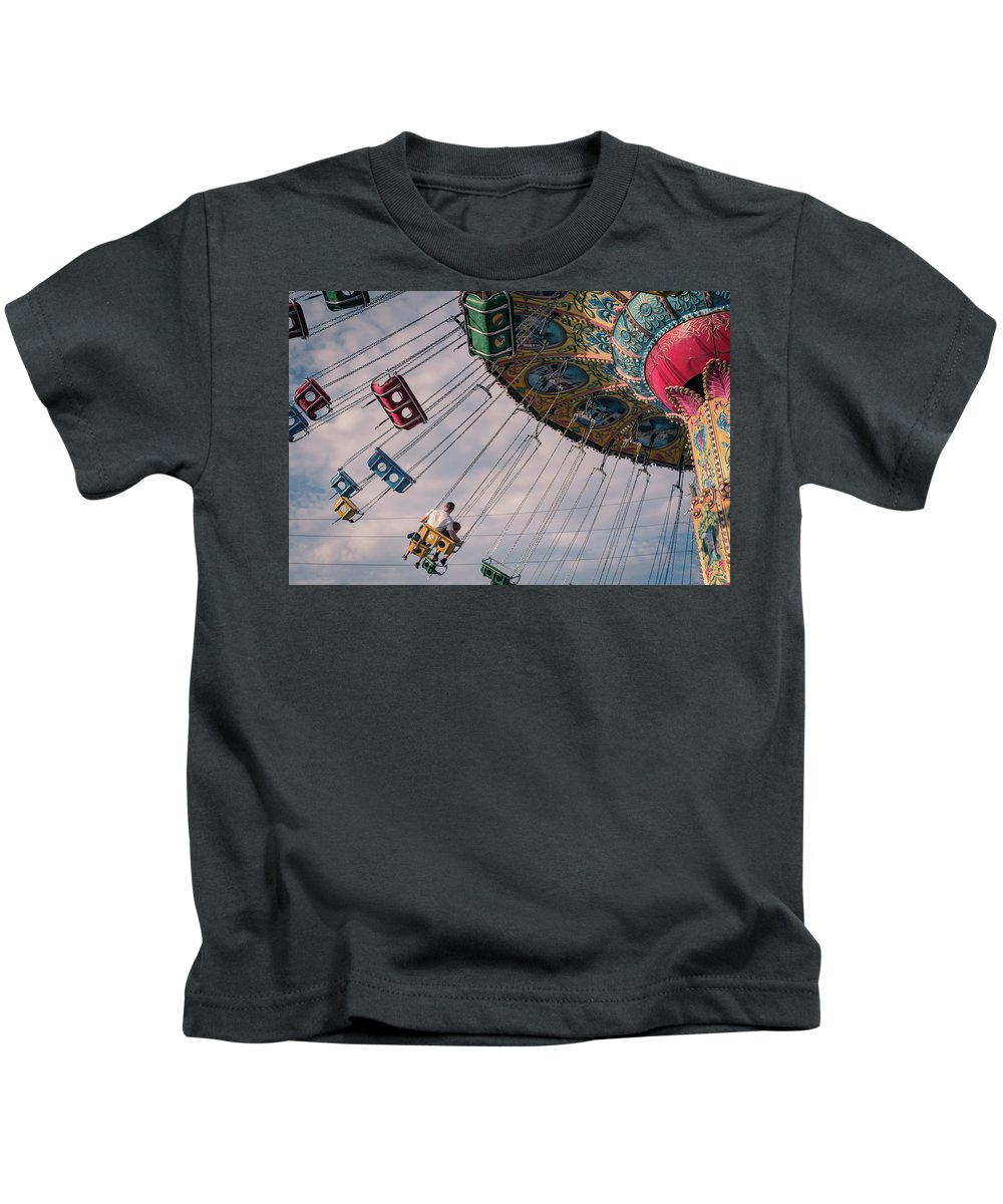Vacation Kids T-Shirt featuring the photograph Father And Son On The Swings by Anthony Doudt