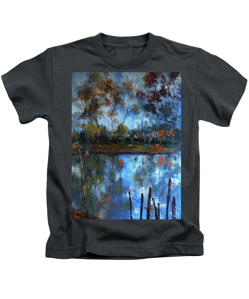 River Kids T-Shirt featuring the painting Goulburn Reflections by Margaret Morgan