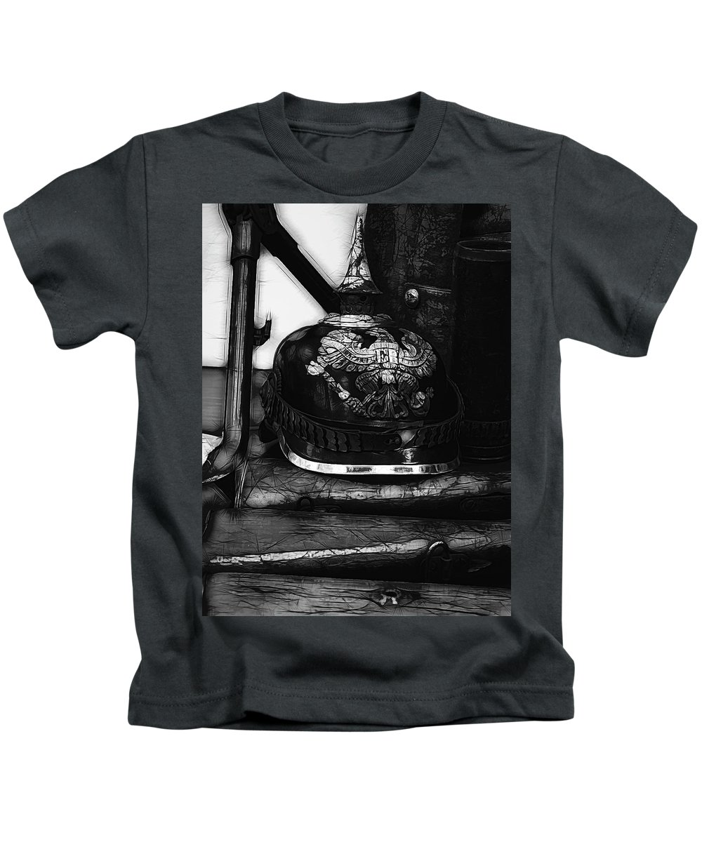 Ww1 Kids T-Shirt featuring the photograph Graphic Ww1 German Helmet by John Straton