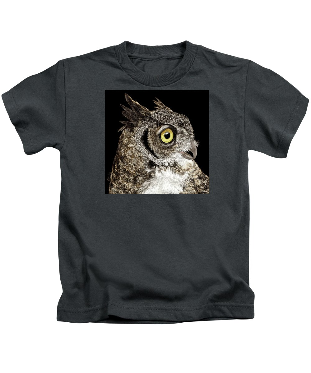 Owl Kids T-Shirt featuring the drawing Great-horned Owl by Ann Ranlett