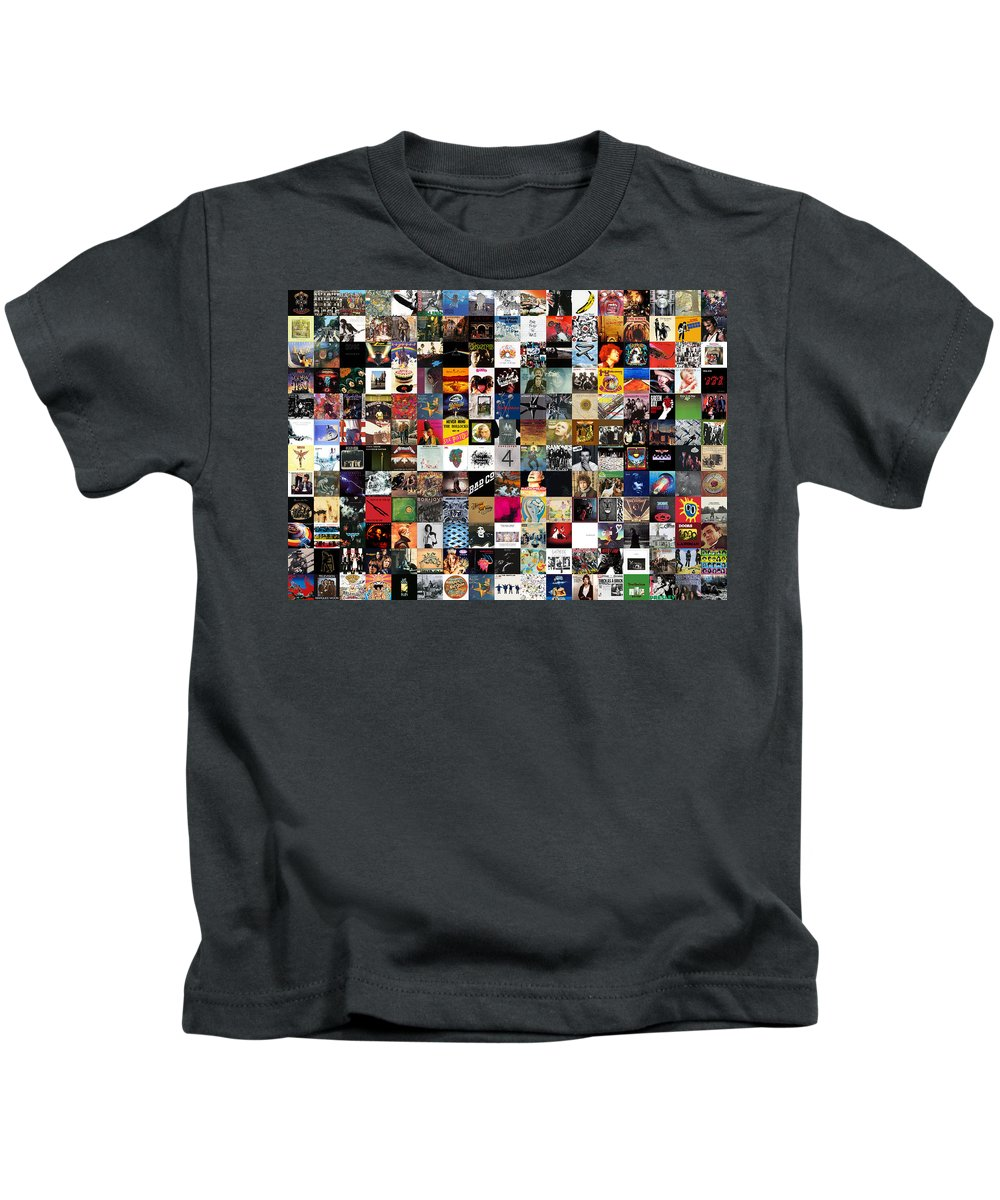 Album Covers Kids T-Shirt featuring the digital art Greatest Rock Albums of All Time by Zapista OU