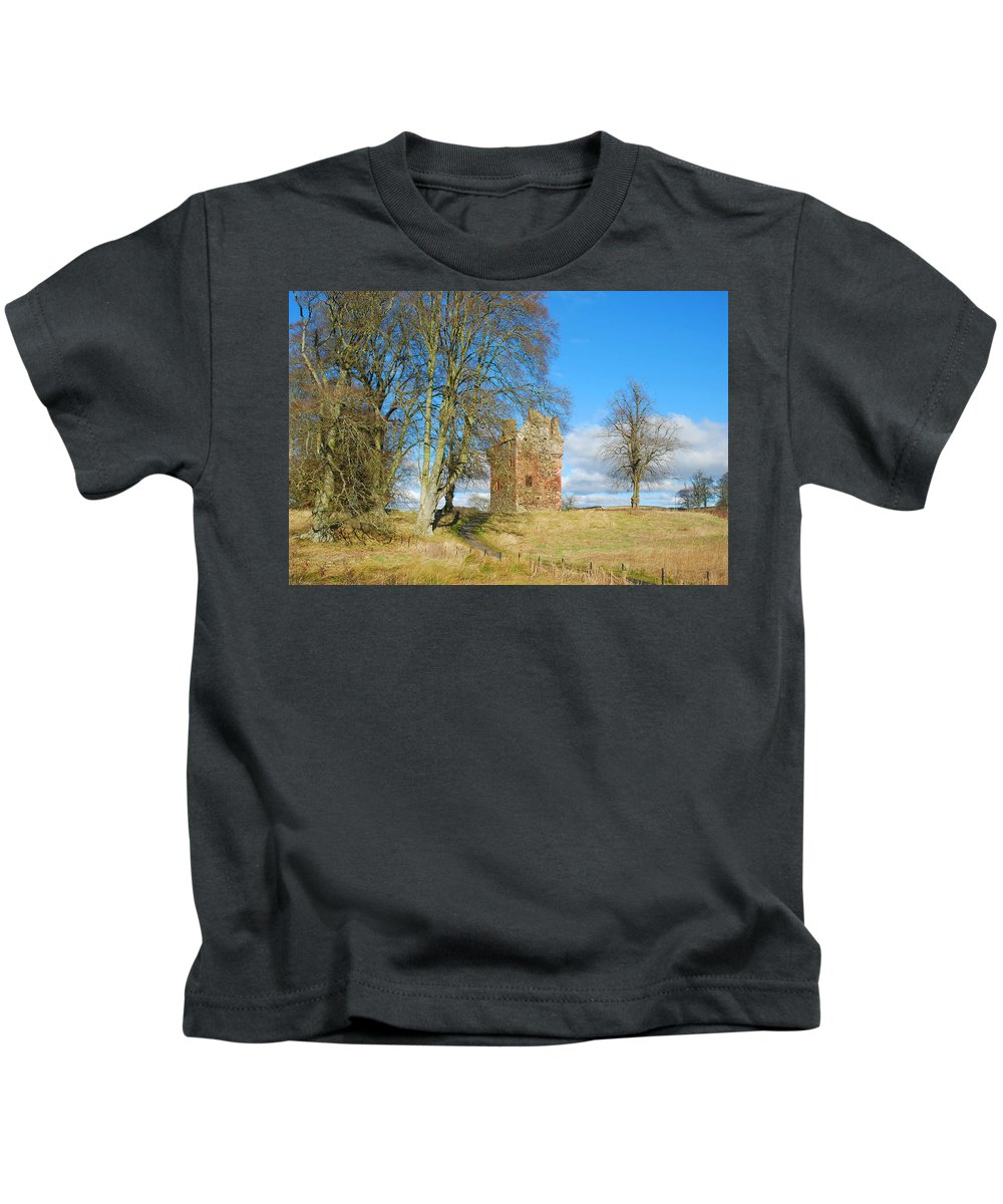 Greenknowe Kids T-Shirt featuring the photograph Greenknowe Tower In Late Winter Sun Scottish Borders by Victor Lord Denovan