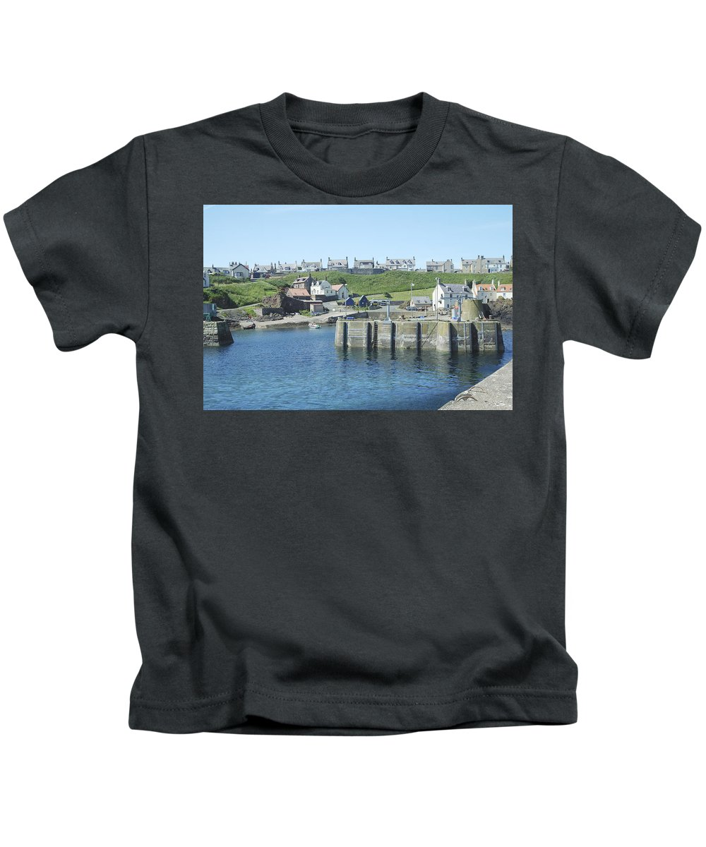 Harbour Kids T-Shirt featuring the photograph harbour at St. Abbs, Berwickshire by Victor Lord Denovan