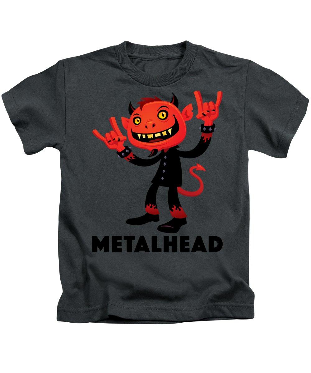 Band Kids T-Shirt featuring the digital art Heavy Metal Devil Metalhead by John Schwegel