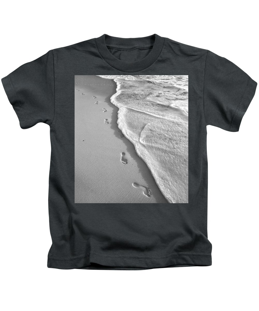 Horseshoe Kids T-Shirt featuring the photograph Horseshoe Bay Beach Bermuda Footprints by Betsy Knapp