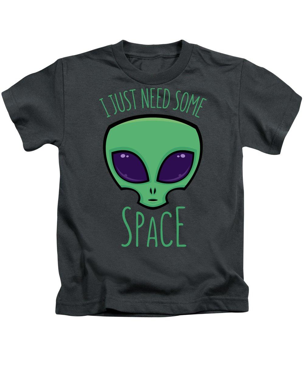 Alien Kids T-Shirt featuring the digital art I Just Need Some Space Alien by John Schwegel