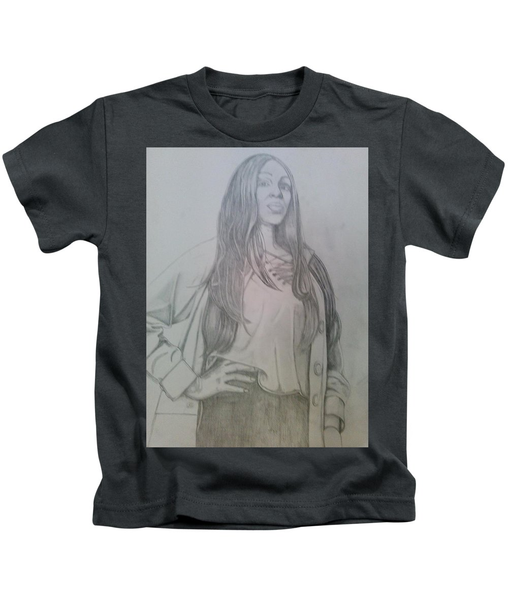 Drawing Kids T-Shirt featuring the drawing Kiki model by Andrew Johnson