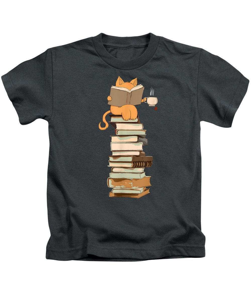 girls' Novelty T-shirts Kids T-Shirt featuring the digital art Kittens, Cats, Tea And Books Gift T Shirt by Unique Tees