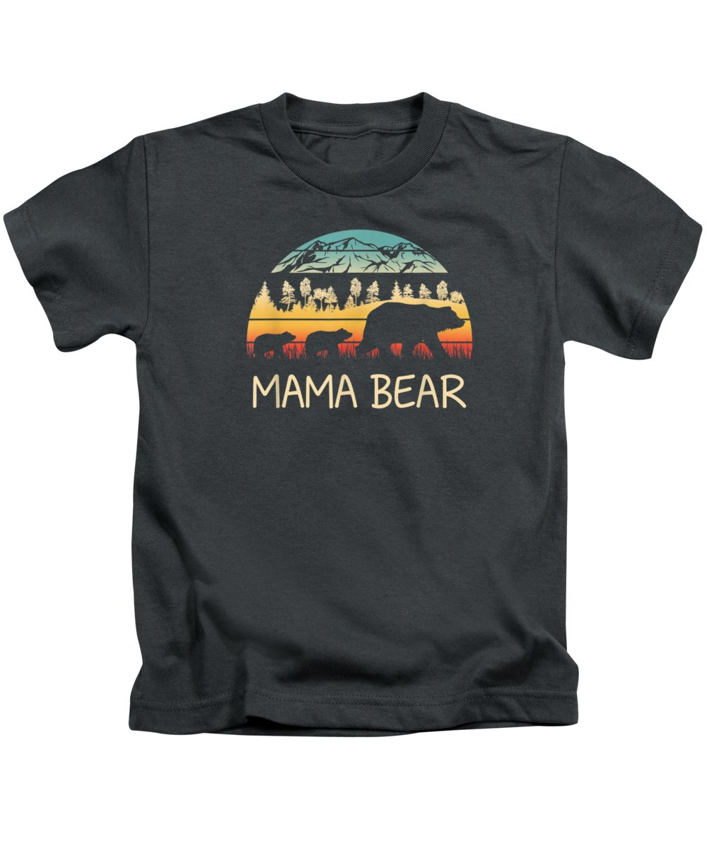 men's Novelty T-shirts Kids T-Shirt featuring the digital art Mama Bear With 2 Cubs Shirt Retro Mountains Mother's Day by Unique Tees