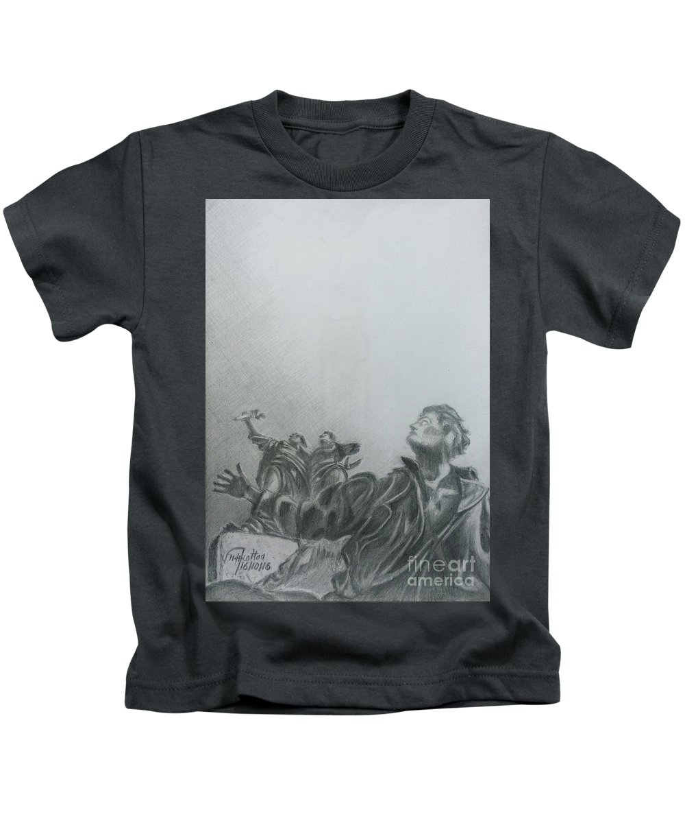Martyrs' Square Kids T-Shirt featuring the drawing Martyrs' Square Statue-beirut by Mohammad Hayssam Kattaa