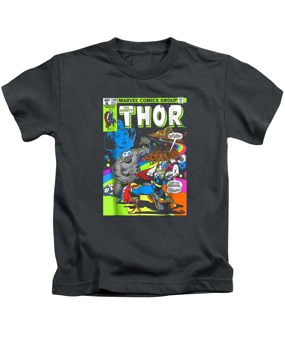 men's Novelty T-shirts Kids T-Shirt featuring the digital art Marvel Thor Retro Comic Neon Poster Graphic Tshirt by Unique Tees