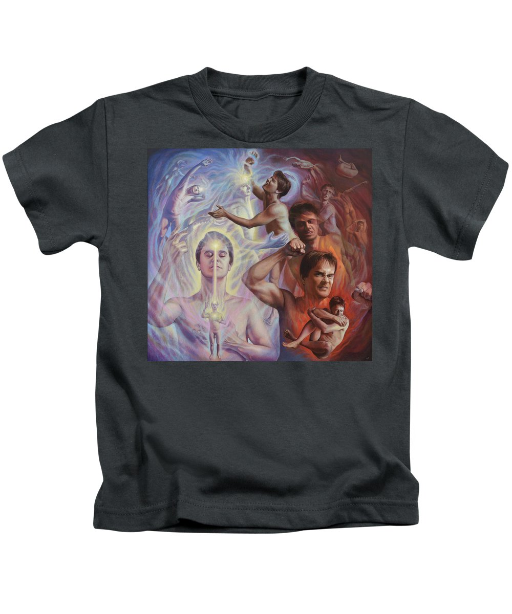 Spiritual Kids T-Shirt featuring the mixed media Mental Bodies by Miguel Tio