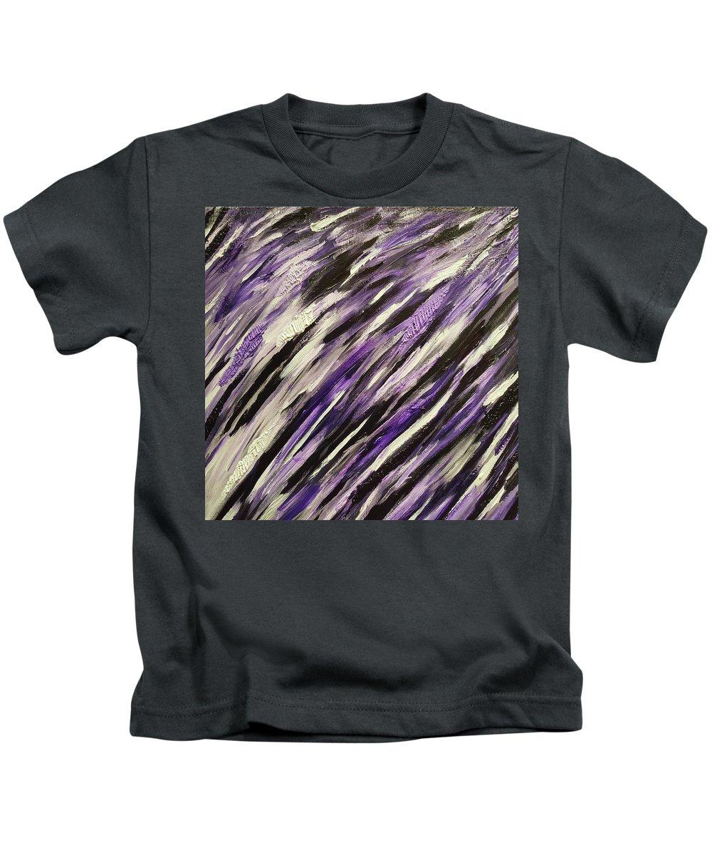 Purple Kids T-Shirt featuring the painting Midnight Sky by Cheri Dawson